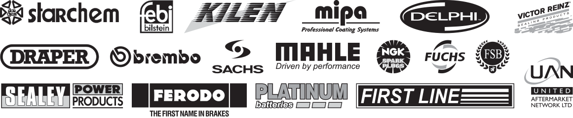 Just a few of the brands stocked at Syncro Motor Factors